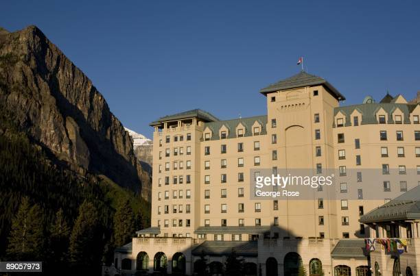 The Fairmont Chateau Lake Louise Hotel is seen in this 2009 Lake Louise Canada summer morning landscape photo