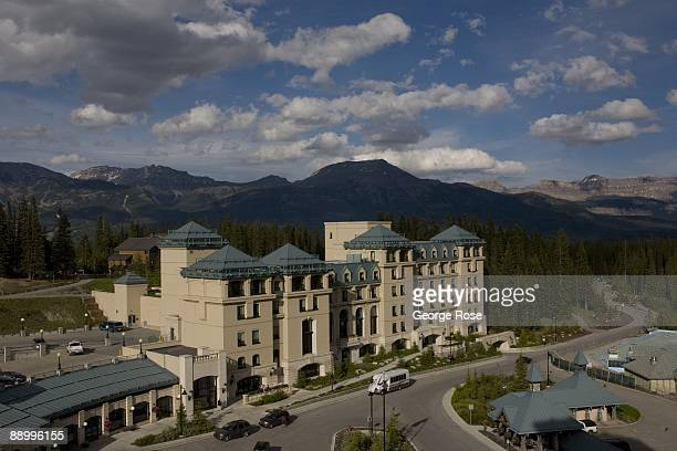 The Fairmont Chateau Lake Louise Hotel's new Mount Temple wing is seen in this 2009 Lake Louise Canada summer afternoon landscape photo