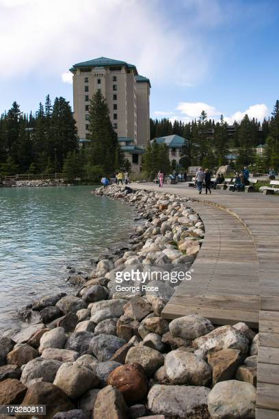 The Fairmont Chateau Lake Louise is viewed on June 26 2013 in Lake Louise Alberta Canada Major flooding along the Bow River in June washed out the...