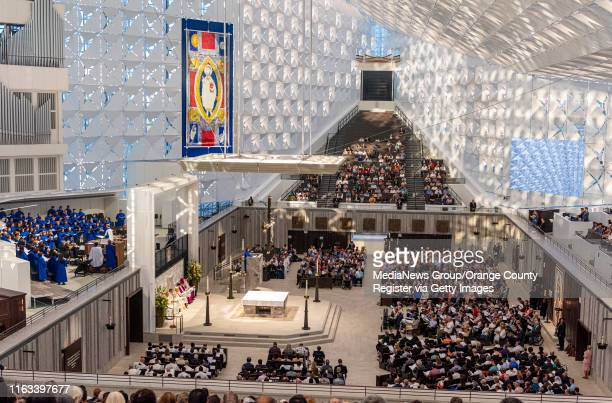 The faithful gather at Christ Cathedral to attend a Solemn Evening of Prayer in Thanksgiving ceremony at Christ Cathedral in Garden Grove on...