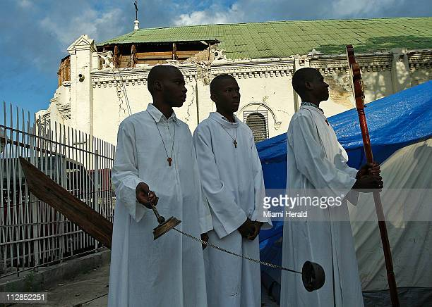 The faithful gathered at St Anne to celebrate one the holiest day in Christianity Easter Sunday April 4 in PortauPrince Haiti The temporary sanctuary...