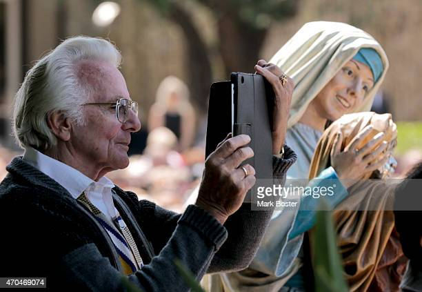 """The faithful snap photos during the memorial for """"Hour Of Power"""" and Crystal Cathedral founder, Robert H. Schuller in the plaza at the Christ..."""