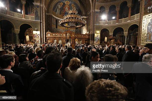 CHURCH ATHENS ATTICA GREECE The faithful watch Ieronymos II the Archbishop of Athens and All Greece and primate of the Orthodox Church of Greece...