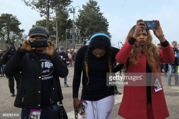 PIETRELCINA CAMPANIA ITALY The faithfuls takes pictures with smartphone of Pope Francis during his visit one hour visit in Pietrelcina the birthplace...