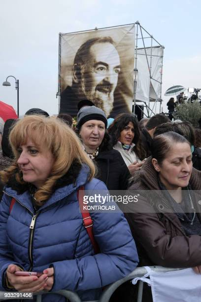 PIETRELCINA CAMPANIA ITALY The faithfuls wait for Pope Francis before his visit one hour visit in Pietrelcina the birthplace of San Pio After...