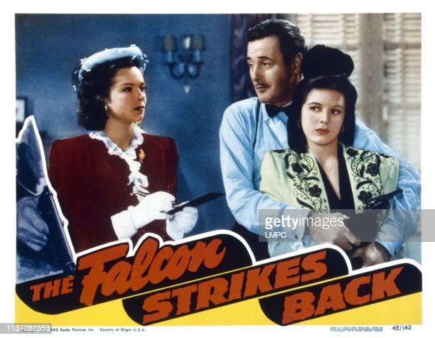 The Falcon Strikes Back lobbycard from left Jane Randolph Tom Conway Harriet Hilliard 1943