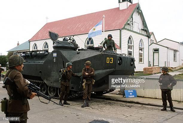 The Falklands War in Port Stanley GrandeBretagne in April 1982 Argentinean Troops Invade Port Stanley