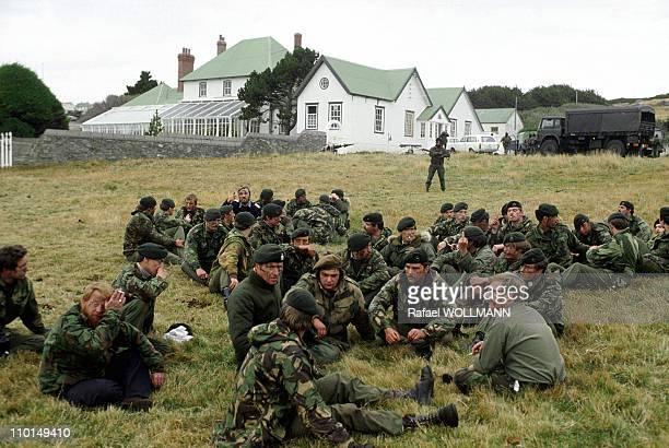 The Falklands War in Port Stanley, Grande-Bretagne in April, 1982.