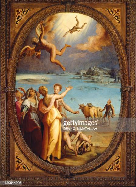 The Fall of Icarus painting by Giovanni Fedini Studiolo of Francesco I Palazzo Vecchio Florence Tuscany Italy 16th century