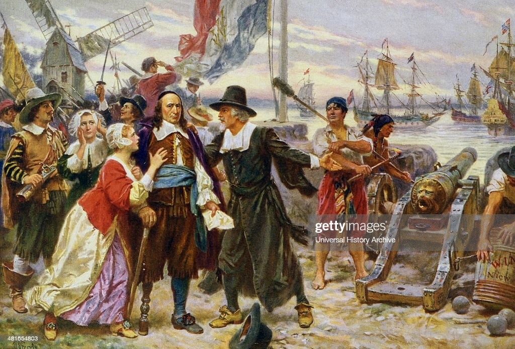 Print shows Peter Stuyvesant, in 1664, standing on shore among residents of New Amsterdam : News Photo