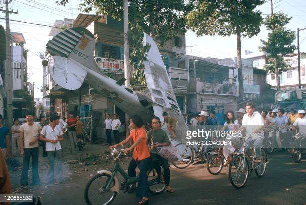 The Fall of Saigon in Vietnam on April 29 1975 A small South Vietnamese plane deliaison was probably crushed with fuel course in a suburb of Saigon...
