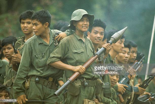 The Fall of Saigon in Vietnam on April 30 1975 Bodoi stationing on the tanks and army trucks at certain neuralgic points of Saigon