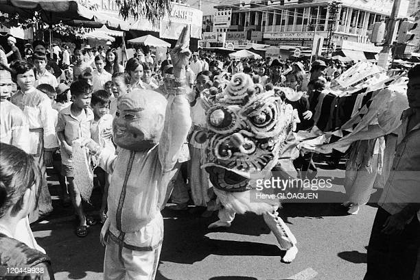 The Fall of Saigon in Vietnam on April 30 1975 Celebrations in liberated Saigon on Le Loi after April 30 1975