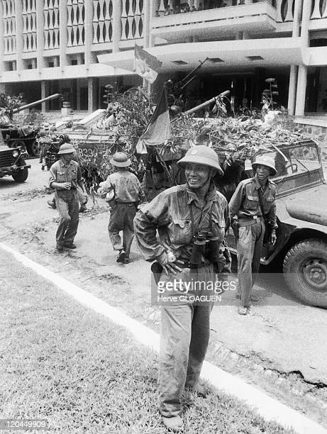 The Fall of Saigon in Vietnam on April 30 1975 North Vietnamese troops occupy Doc Lap Palace