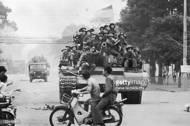 The Fall of Saigon in Vietnam on April 30 1975 The northVietnamese tanks cross Saigon on the way towards the Doc Lap palace