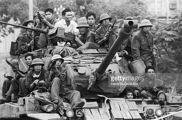 The Fall of Saigon in Vietnam on April 30 1975 The northVietnamese tanks cross Saigon on the way towards the Doc Lap palace