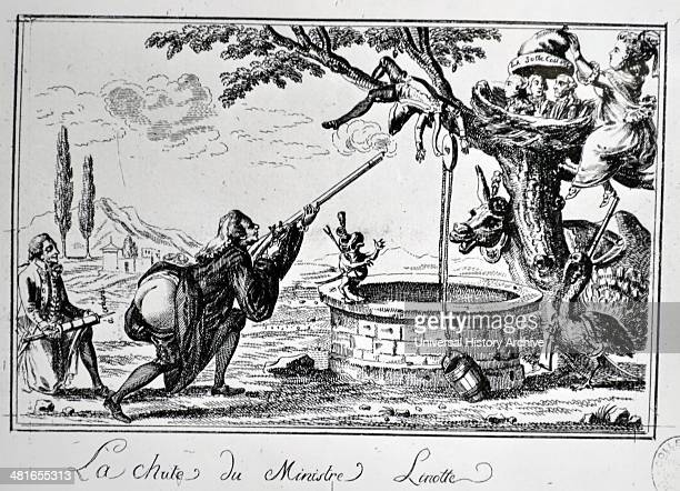 The fall of the linotte ministry 1789 cartoon on the French revolution Madame de stael Anne Louise Germaine de StaëlHolstein commonly known as Madame...