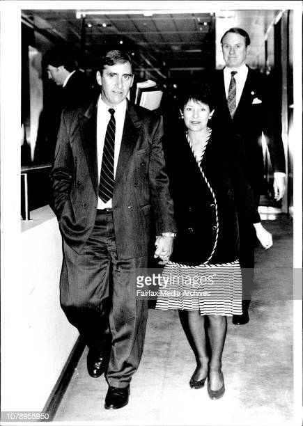 The fall of the premier of NSW Nick Greiner and the new premier Mr John Faheywith his wife Colleen June 24 1992