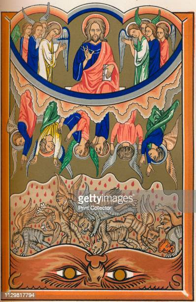 The Fall of the Rebel Angels' circa 1260 God and the good angels in Heaven with the rebel angels plunging towards the jaws of Hell below 19th century...
