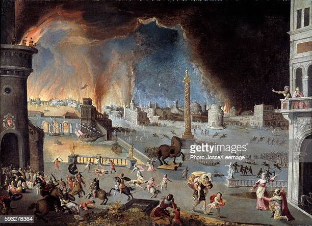 The fall of Trojan Scene of the Trojan War the city was devastated by the Greeks entered the city thanks to the horse Painting by Jean Maublanc 17th...