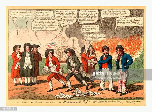 The Fall Of Washington Or Maddy In Full Flight Cartoon Showing President James Madison And Probably John Armstrong His Secretary Of War Both With...