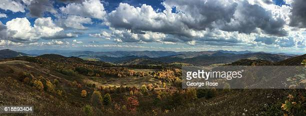 The fall tree colors on Max Patch a bald mountain located along the Appalachian Trail is viewed on October 21 2016 in Hot Springs North Carolina...