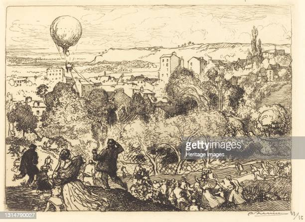 The Falling Balloon, in Pre-Saint-Gervais , 1910. Artist Auguste Lepere.