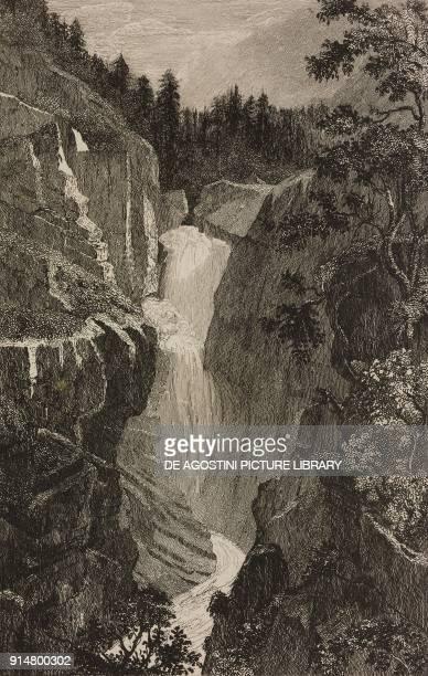 The falls of the Aare River in Handeck Canton of Bern Switzerland engraving by Rouargue from Histoire et description de la Suisse et du Tyrol by...