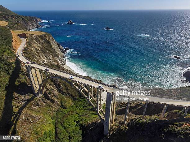 the famed bixy bridge in big sur. - big sur stock photos and pictures