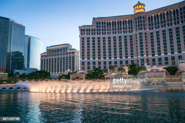 The famed Dancing Water Fountain show the Bellagio Hotel Casino is viewed at sunset on May 29 2017 in Las Vegas Nevada Tourism in America's Sin City...
