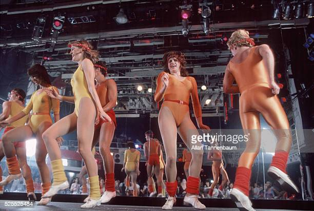 The famed disco Studio 54 transforms itself into a giant gymnasium for aerobics classes New York New York January 20 1983