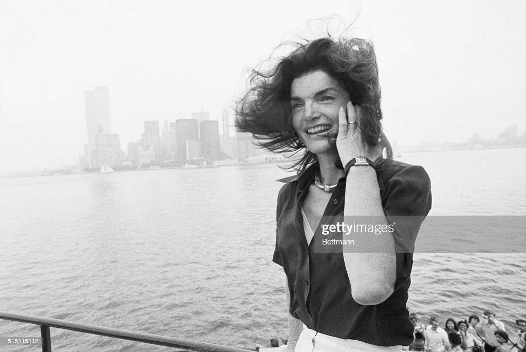 Jacqueline Kennedy Onassis on New York Harbor : News Photo
