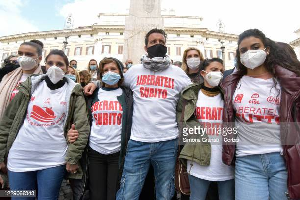 The families of the fishermen from Mazara del Vallo who were arrested in Libya sleep in Piazza Montecitorio for 25 days to ask for the release of the...