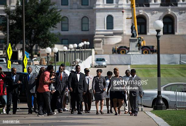 The family and attorney of Philando Castile arrive at a press conference on July 12 2016 in St Paul Minnesota Judge Glenda Hatchett former Chief...