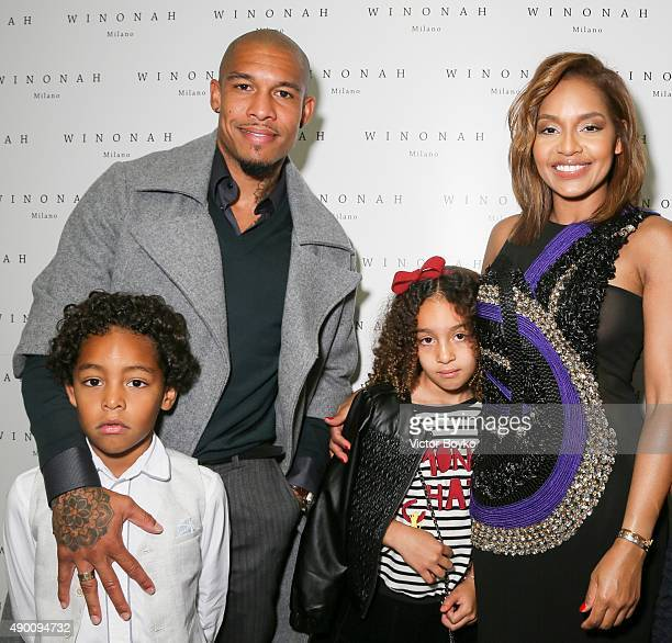 The family de Jong attend the Winonah cocktail party during the Milan Fashion Week Spring/Summer 2016 on September 25 2015 in Milan Italy