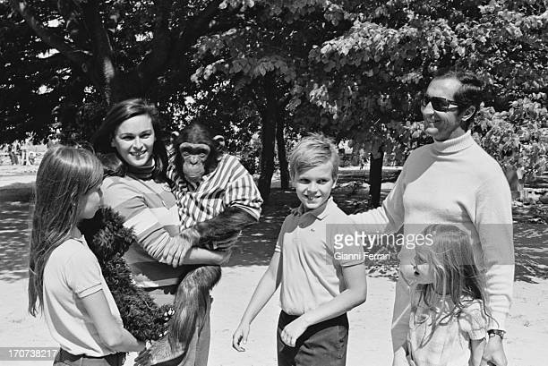 Paola, actress Lucia Bose with a little chimp, Miguel, the matador Luis Miguel Dominguin and Lucia, on his farm in his home of Villa Paz Cuenca,...