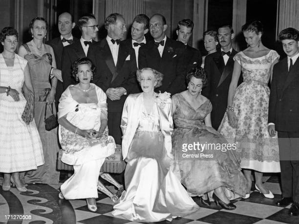 The family has gathered to celebrate the 80th birthday of Queen Elisabeth of Belgium at the Royal Castle of Laeken Seated L R are Princess Lilian of...