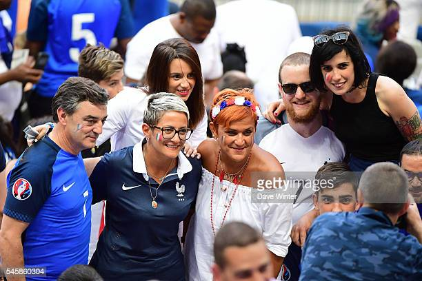 The family of Antoine Griezmann of France including father mother Erika Choperen and sister during the European Championship Final between Portugal...