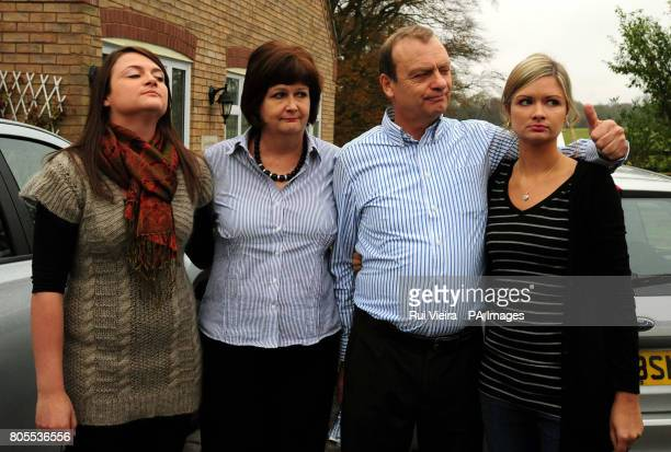The family of British teacher, Lindsay Ann Hawker who was murdered in Japan, sister Louise, mother Julia, father Bill and sister Lisa , wait to speak...