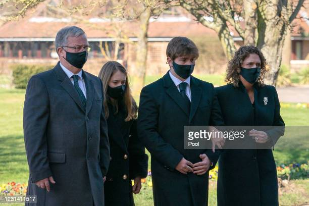 The family of Captain Sir Tom Moore son-in-law Colin Ingram, granddaughter Georgia, grandson Benjie and daughter Hannah Ingram-Moore arrive for his...