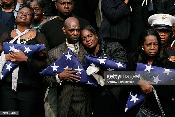The family of Dwayne Lewis a United States soldier killed in a gun battle in Bahgdad on February 27 leaves his funeral on March 13 at St Pascal...