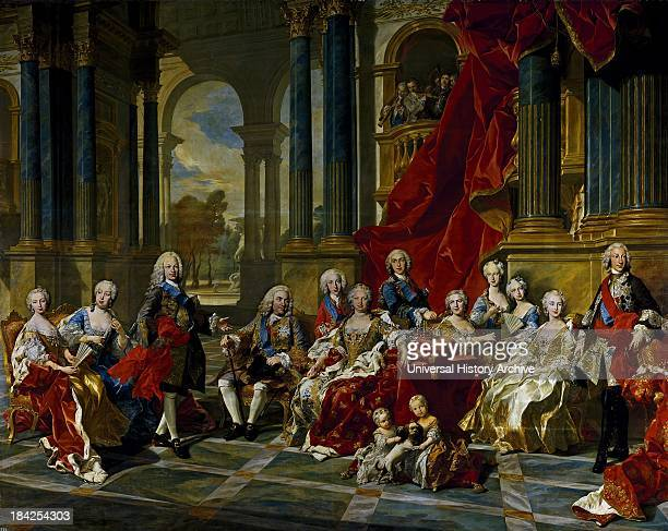 The Family of Felipe V by the French artist Louis Michel van Loo completed in 1743 Featuring lifesized depictions of Philip V of Spain and his family...