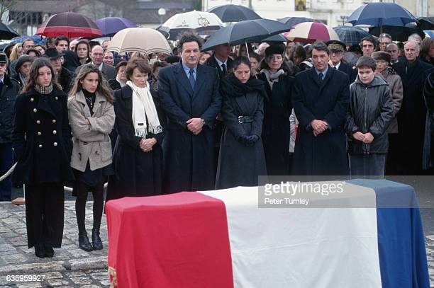 The family of Francois Mitterrand attends his private funeral in Jarnac