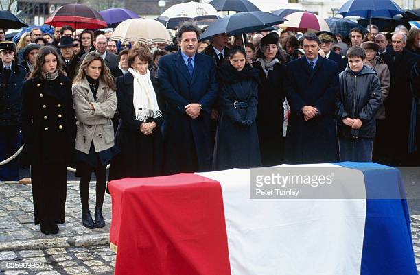 The family of Francois Mitterrand attends his private funeral in Jarnac France