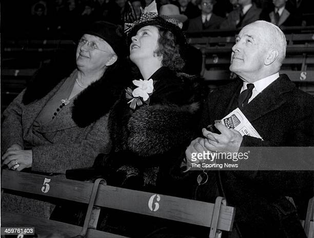 The family of Hall of Famer and former New York Yankees first baseman Lou Gehrig look on his mother Christina his wife Eleanor and his father...