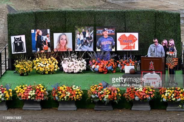 The family of John Altobelli son JJ Altobelli his fiance Carly Konigsfeld and daughter Lexi Altobelli speak during a memorial service honoring their...