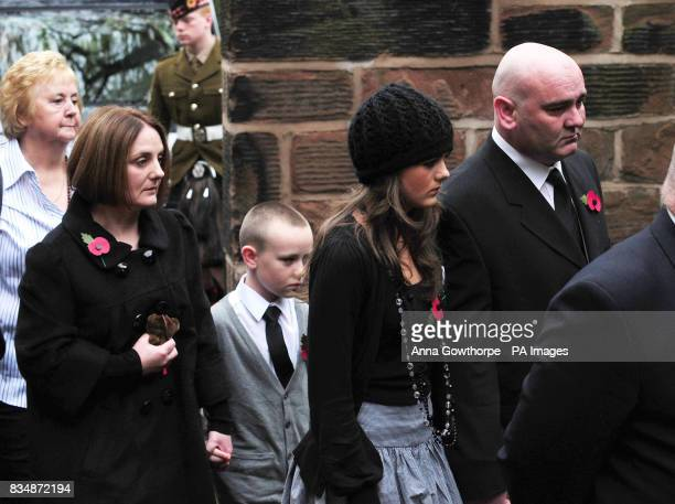 The family of Joseph Lappin mother Toni Lappin brother Michael sister Bethany and father John Lappin arrive for his funeral service at St Oswald's...