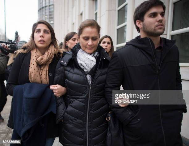 The family of Juan Angel Napout of Paraguay one of three defendants in the FIFA scandal on trial in Brooklyn depart the Federal Courthouse in...