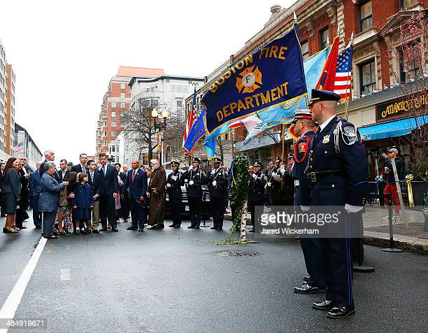 The family of Martin Richard including Bill Richard along with Boston mayor Marty Walsh Massachusetts Governor Deval Patrick and other members of the...