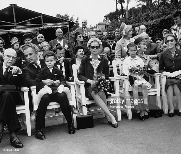 The family OF MONACO attending a pedigree dog show in Monte Carlo as the Canine Club's guests of honor From left to right PIERRE DE POLIGNAC his son...